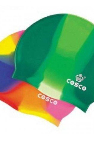 Cosco Silicone Multi Color Swimming Cap Green
